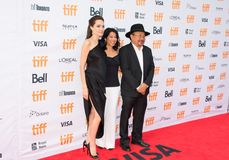 Angelina Jolie World Premiere of `First They Killed My Father` at Toronto International Film Festival. Angelina Jolie, actress Loung Ung, and actor Rithy Panh at Royalty Free Stock Image