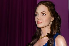 Angelina Jolie wax statue, Madame Tussaud`s Museum Vienna. Angelina Jolie is an American actress, filmmaker, and humanitarian. She has received an Academy Award royalty free stock photo