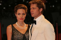 Angelina Jolie and Brad Pitt. VENICE - SEPT 2: Angelina Jolie and Brad Pitt attends the premiere of 'The Assassination of Jesse James by the coward Robert Ford' Royalty Free Stock Image