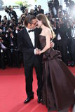 Angelina Jolie and Brad Pitt. CANNES, FRANCE - MAY 16: Angelina Jolie and Brad Pitt attends 'The Tree Of Life' premiere during the 64th Annual Cannes Film royalty free stock image