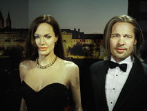 Angelina Jolie and Brad Pitt, Hollywood Celebrities. Wax models -  Angelina Jolie and Brad Pitt, Hollywood celebrities and actors. Madame Tussauds in Wax Museum Royalty Free Stock Photography
