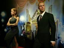 Angelina Jolie And Brad Pitt-wasstandbeeld royalty-vrije stock fotografie