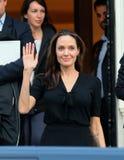Angelina Jolie opuszcza Greckiego Pierwszorzędnego ministra biuro w Athen Fotografia Stock