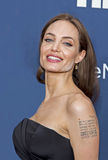 "Angelina Jolie. Oscar-winning actress Angelina Jolie arrives on the red carpet for the New York premiere of ""The Normal Heart, "" at the Ziegfeld Theatre in Royalty Free Stock Photos"