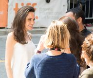 Angelina Jolie at Premiere of `The Breadwinner` for TIFF17. Actress Angelina Jolie with fans at the world Premiere of `The Breadwinner` during the Toronto Royalty Free Stock Photography