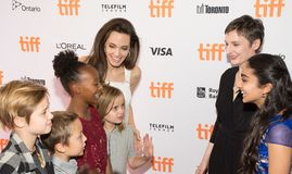 Angelina Jolie at Premiere of `The Breadwinner` for TIFF17. Actress Angelina Jolie with fans at the world Premiere of `The Breadwinner` during the Toronto Royalty Free Stock Photo