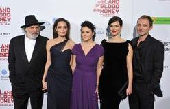 Angelina Jolie, Rade Serbedzija, Vanesa Glodjo, Paul Smith, Zana Marjanovic, Goran Kostic Royalty Free Stock Image