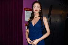 Angelina Jolie vaxdiagram, museum Wien för madam Tussauds arkivbilder