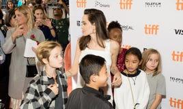 Angelina Jolie World Premiere of `The Breadwinner` at Toronto International Film Festival. Angelina Jolie with her kids at the Premiere of `The Breadwinner` Stock Photography