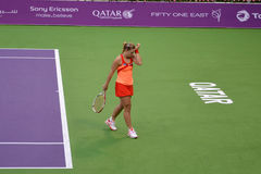 Angelique Kerber. DOHA-QATAR: FEBRUARY 14: Tennis Player Angelique Kerber at Qatar Total Open on February 14, 2012 in Doha, Qatar. The event was held from royalty free stock photo