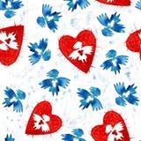 Angelo blu di amore con il reticolo senza giunte del cuore Fotografia Stock Libera da Diritti