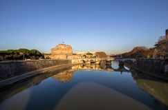 ` Angelo Bridge de Sant et ` Angelo Castel, Rome de Sant Photo libre de droits