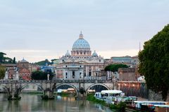 Angelo bridge and St. Peter's Basilica Royalty Free Stock Photo