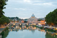 Angelo bridge and St. Peter's Basilica Royalty Free Stock Photography