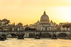 Angelo bridge and St. Peter's Basilica at dusk Stock Image