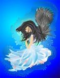 Angelo con capelli neri illustrazione vettoriale