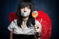 Angelo con il lollipop Fotografia Stock Libera da Diritti