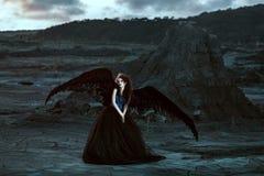 Angelo con le ali nere immagini stock