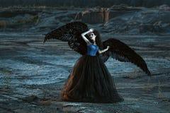 Angelo con le ali nere immagini stock libere da diritti