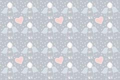 Angelo con un cuore nella neve - modelli l'illustrazione Fotografia Stock