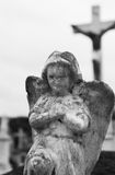 Angelo concreto del cimitero Fotografie Stock