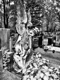 Angelo del cimitero Sguardo artistico in bianco e nero Fotografia Stock Libera da Diritti