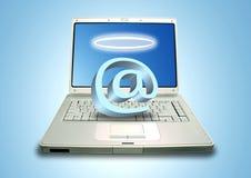 Angelo del email e del computer portatile Immagine Stock Libera da Diritti