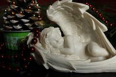 Angelo del gesso - fondo di Natale Fotografie Stock Libere da Diritti