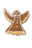 Angelo del pan di zenzero di Natale isolato su un fondo bianco Fotografia Stock Libera da Diritti