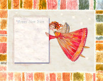 Angelo della cartolina d'auguri del buon anno Immagine Stock