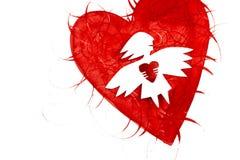 Angelo di amore con cuore Immagini Stock Libere da Diritti