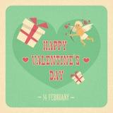 Angelo di forma del cuore di amore di Valentine Day Gift Card Holiday Fotografia Stock