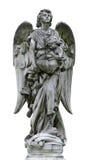 Angelo di marmo maturo isolato Fotografia Stock