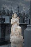 Angelo di notte del cimitero Fotografia Stock