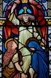 Angelo di vetro macchiato della finestra, Virgin Mary e san Fotografie Stock Libere da Diritti
