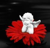 Angelo e un fiore Fotografie Stock Libere da Diritti