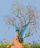 Angelo ed albero illustrazione di stock