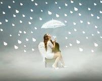 Angelo nell'ambito di un tempo piovoso fotografie stock libere da diritti