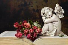 Angelo, rose e vecchio libro fotografia stock