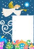 Angelo sopra la città di inverno, carta, illustrazione di Natale di vettore illustrazione di stock