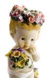 Angelo sveglio del bambino con i fiori Fotografia Stock Libera da Diritti