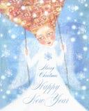 Angelo in vestiti bianchi con capelli sexy che oscillano nel cielo blu con i fiocchi di neve Immagini Stock