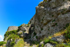Angelokastro ruins. Stairs at the unassailable walls of Angelokastro castle, Corfu, Greece Stock Images