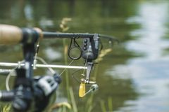 Angelrute ausgerüstet mit einer elektronischen Bisswarnanlage auf der Flussbank lizenzfreie stockbilder