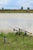Angelruten in der Fischerei Stockfoto