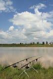 Angelruten in der Fischerei Lizenzfreies Stockbild