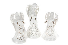 Angels. Ceramic angels photo on the white background Royalty Free Stock Photography