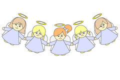Angels. There are five little angels royalty free illustration