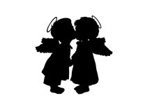 The angels. Two children's silhouettes with wings on a white background Stock Photo