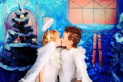Angels. Beautiful little angels over Christmas background Royalty Free Stock Photos